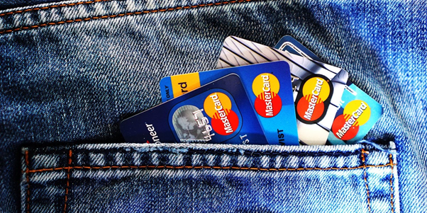 Credit and Debit cards in jean pockets